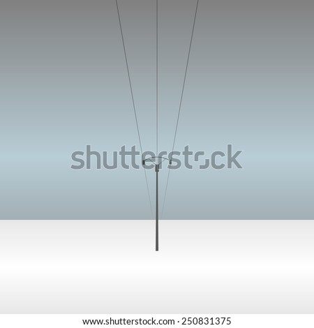 Vector silhouette of high voltage electric line against gray sky - stock vector