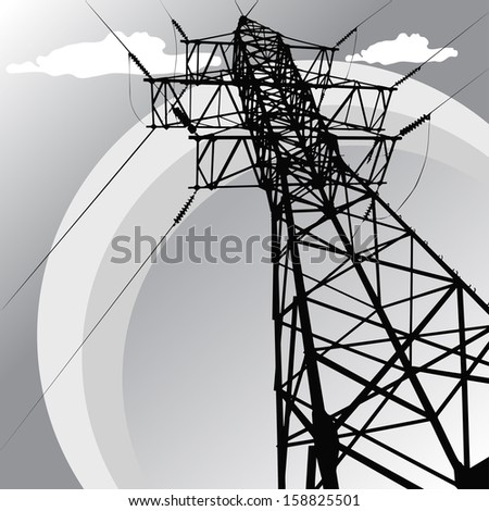 Vector silhouette of high voltage power lines and pylon - stock vector