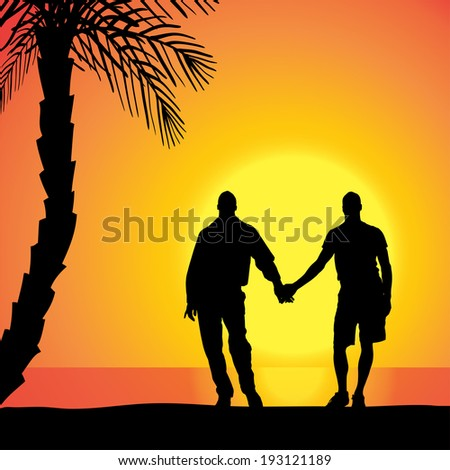 Vector silhouette of homosexuals on the beach at sunset. - stock vector