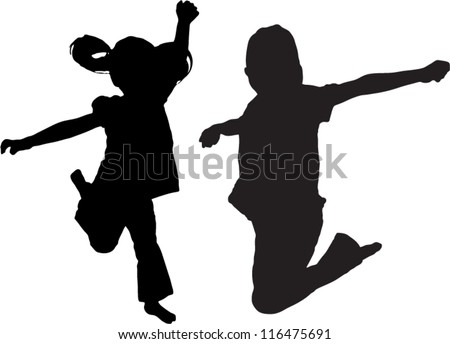 Vector Silhouette of kids jumping up in the air - stock vector