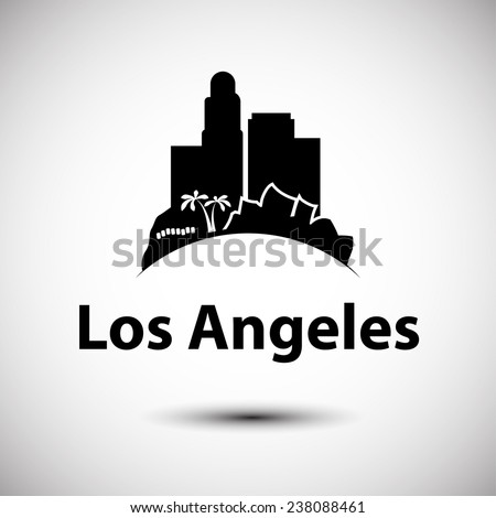 Vector silhouette of Los Angeles - stock vector