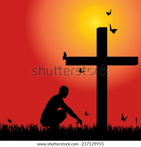 Vector silhouette of man at the cross at sunset. - stock vector