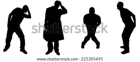 Vector silhouette of man in different positions. - stock vector