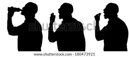 Vector silhouette of man in different situations. - stock vector