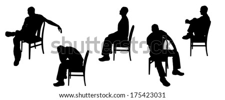 Vector silhouette of man sitting on chairs. - stock vector