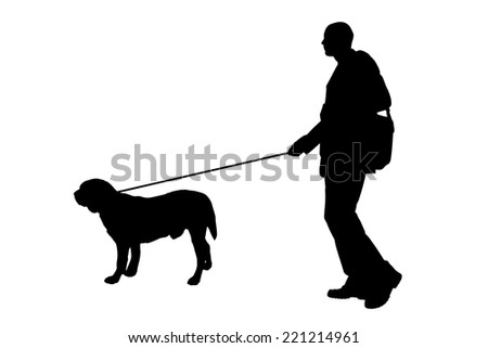 Vector silhouette of man with a dog on a white background.