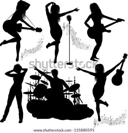 Vector Silhouette of musical band - stock vector