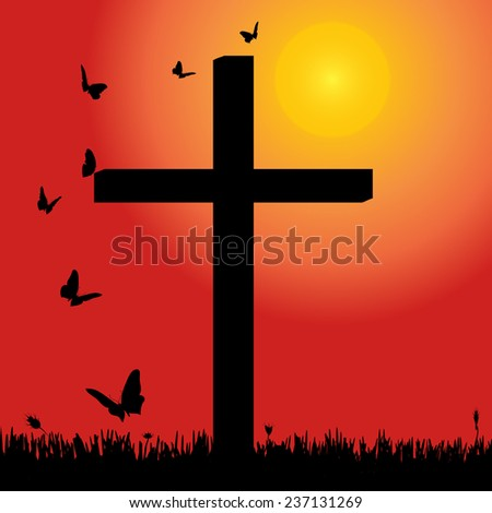 Vector silhouette of nature with cross at sunset. - stock vector