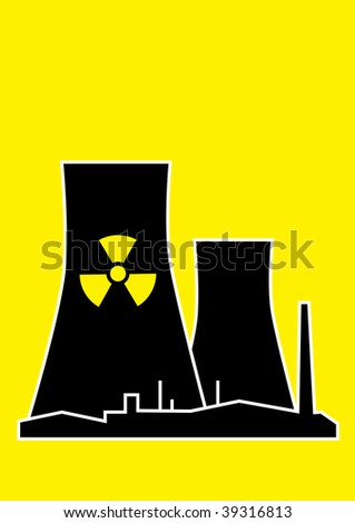 Vector silhouette of nuclear power plant on yellow background - stock vector