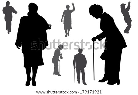 Vector silhouette of old people on a white background.  - stock vector