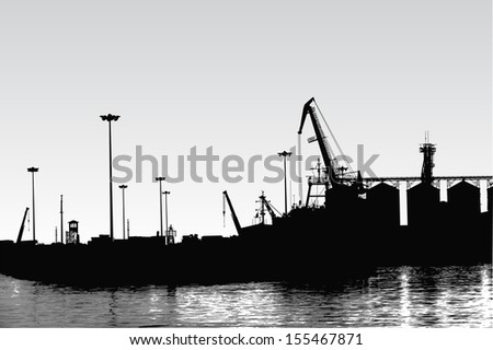 Vector silhouette of panorama of port - stock vector