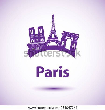 Vector silhouette of Paris. City skyline. - stock vector