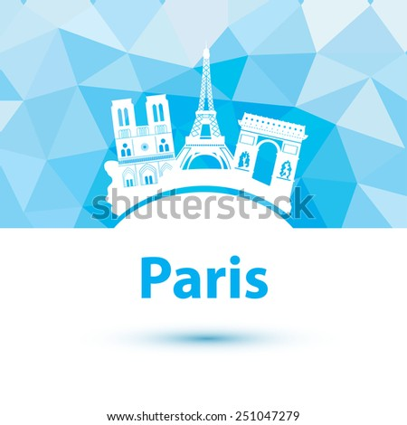 Vector silhouette of Paris. City skyline on polygonal background. - stock vector