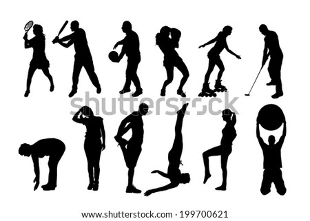 vector silhouette of people in different sports. - stock vector
