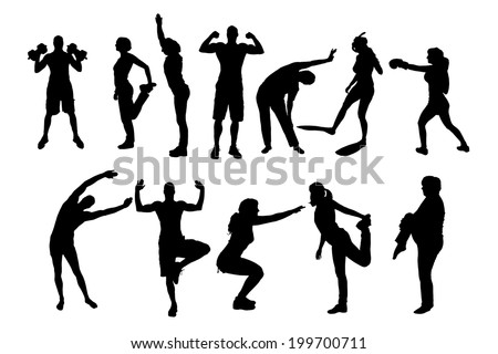 vector silhouette of people in different sports.