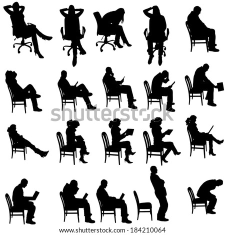 Vector Silhouette People Sitting On White Stock Vector
