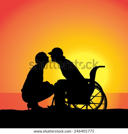 Vector silhouette of people who are in wheelchairs.