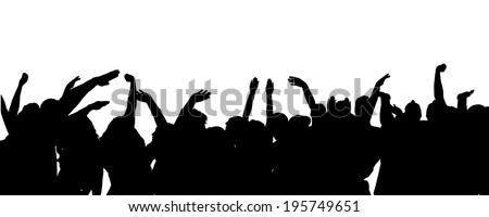 Vector silhouette of people who dance on white background.