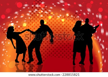 Vector silhouette of people who dancing on disco.