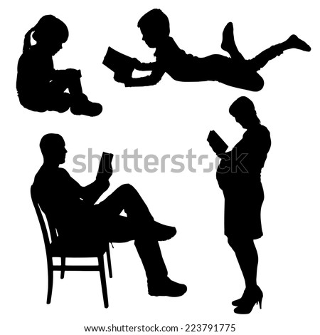Vector silhouette of people who read on a white background. - stock vector