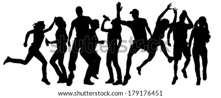 Vector silhouette of  people who run a white background.
