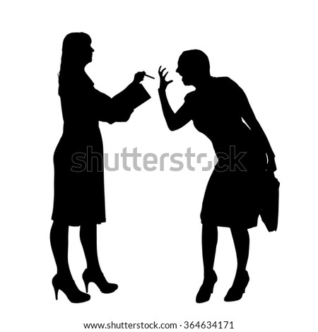 Vector silhouette of people who were arguing. - stock vector