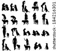 Vector silhouette of people with a dog on a white background. - stock