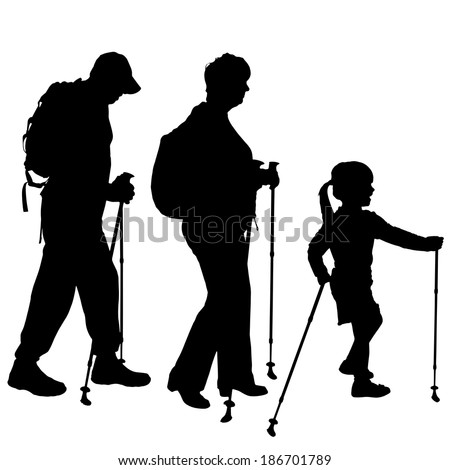 Vector silhouette of people with Nordic walking. - stock vector