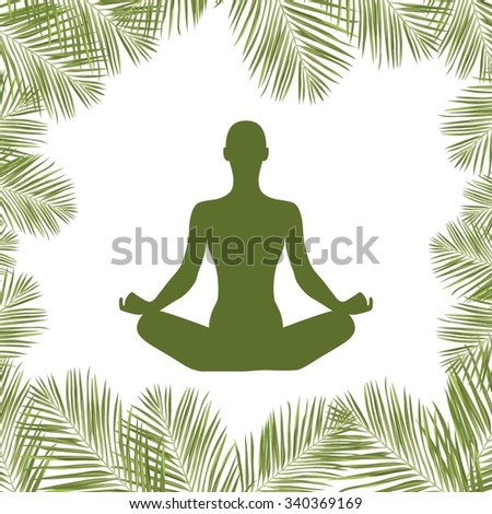 Vector silhouette of person sitting in lotus pose - stock vector