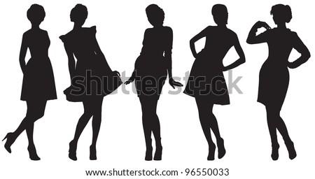 Vector silhouette of pretty women - stock vector