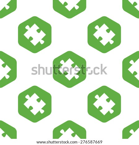 Vector silhouette of puzzle piece in hexagon, repeated on white background - stock vector