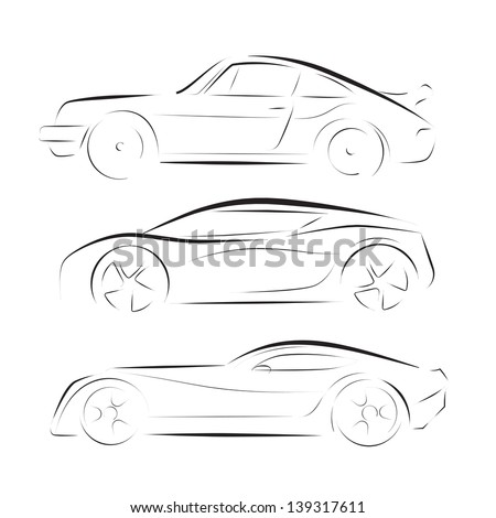 vector Silhouette of racing car for sports design. - stock vector
