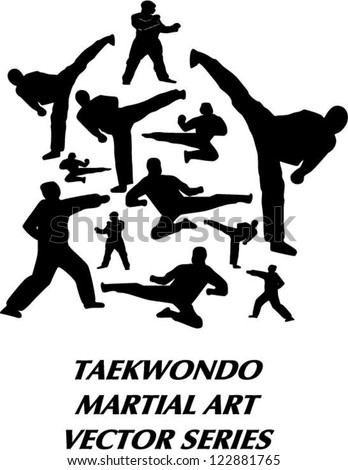 Vector silhouette of several taekwondo martial art basic technique include standing, kicking, flying kick, side kick, and punch - stock vector