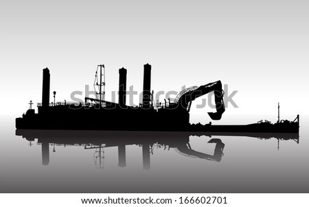 Vector silhouette of ship with floating excavator in service - stock vector