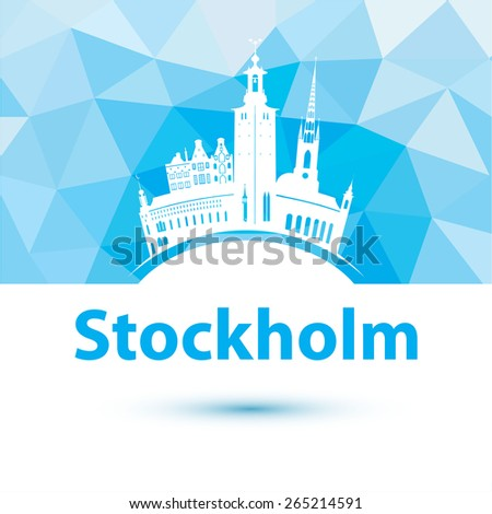 Vector silhouette of Stockholm, Sweden. City skyline. - stock vector