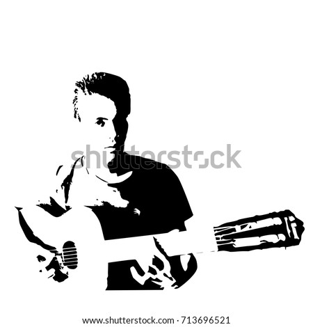 Vector silhouette of teenager playing music on the guitar,  black color, isolated on white background