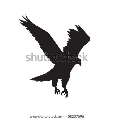 Vector  silhouette of the Bird of Prey in flight with wings spread - stock vector