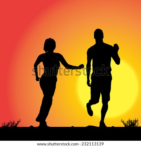 Vector silhouette of the couple who runs in sunset. - stock vector