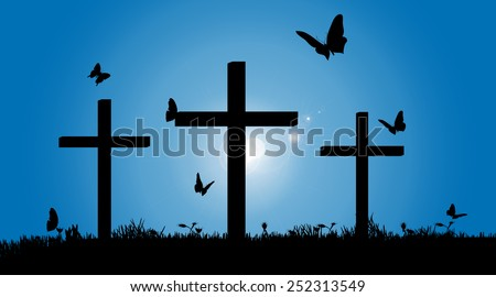 Vector silhouette of the cross in nature. - stock vector