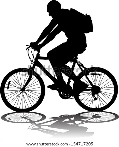 Vector silhouette of the cyclist