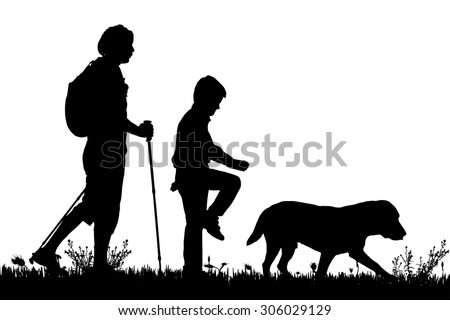 Vector Silhouette Of The Family With Dog For A Walk