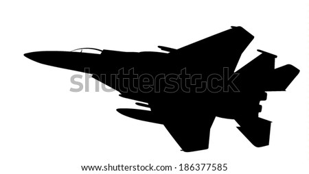 Vector silhouette of the fighter jet (F-15) in flight.  - stock vector