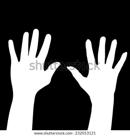 Vector silhouette of the hands of man and woman.