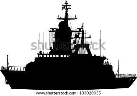 Vector silhouette of the military ship on a white background - stock vector