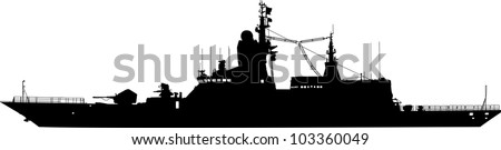 Vector silhouette of the military ship on a white background in profile - stock vector