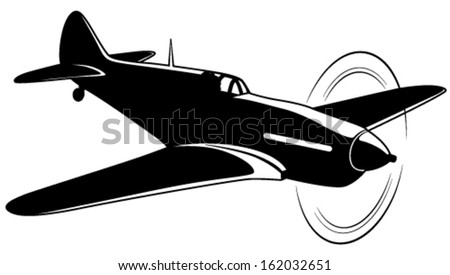 Vector silhouette of the old fighter airplane - stock vector