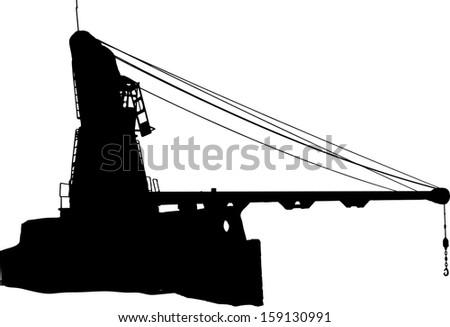 Vector Silhouette of the port crane - stock vector