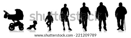 Vector silhouette of the process of generational people. - stock vector