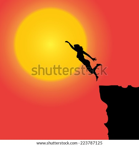 Vector silhouette of the woman who jumps off a cliff.