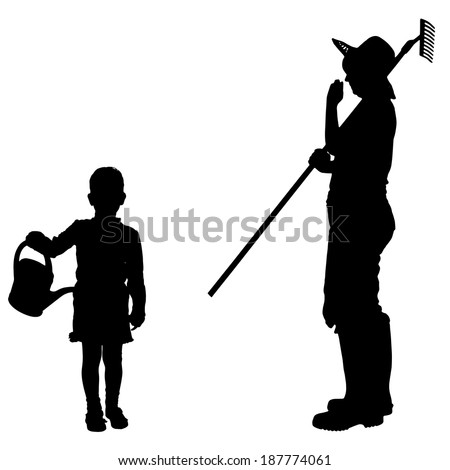 Vector silhouette of the woman with children.